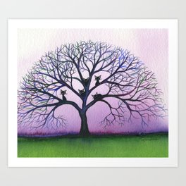 Kennewick Whimsical Cats in Tree Art Print