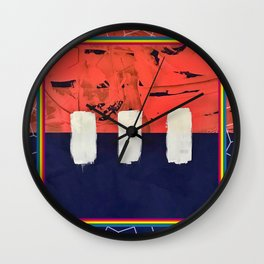 Stitch in Time - color square graphic Wall Clock