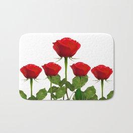 ORIGINAL GARDEN DESIGN OF RED ROSES ON WHITE Bath Mat