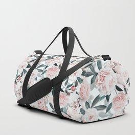 Blush Sepia Flowers Duffle Bag