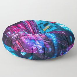 Post Apocalyptic Neon City Blues  - Tokyo Floor Pillow