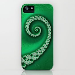 Christmas Green Golden Spiral - Fractal Art iPhone Case
