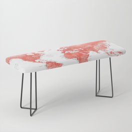 Living coral watercolor world map with cities Bench