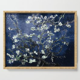 Vincent Van Gogh Almond Blossoms Dark Blue Serving Tray
