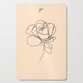yellow rose line art Cutting Board