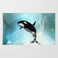 orca Area & Throw Rugs featuring The orca by nicky2342