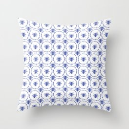 Vintage Shabby Chic Bees in Laurel Wreaths in Delft China Blue Throw Pillow