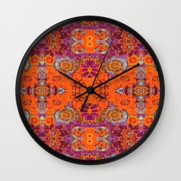 Boho Hippie Garden Pattern Wall Clock