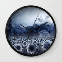 sunflowers Wall Clocks featuring sunflowers by Bekim ART