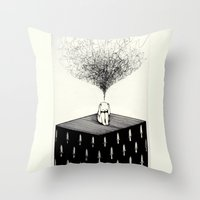 anxiety Throw Pillows featuring Anxiety by Felicia Chiao