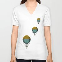 hot air balloons V-neck T-shirts featuring Hot Air Balloons by Juste Pixx Designs
