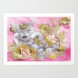 A Very Happy Cat Art Print
