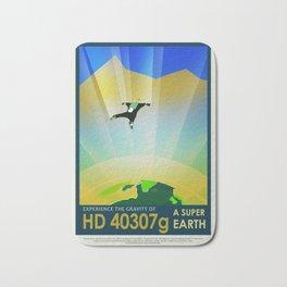 A Super Earth Retro Space Poster Bath Mat