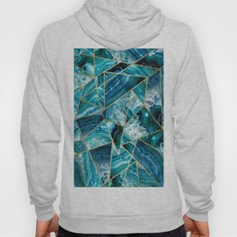 Turquoise Navy Blue Agate Black Gold Geometric Triangles Hoody