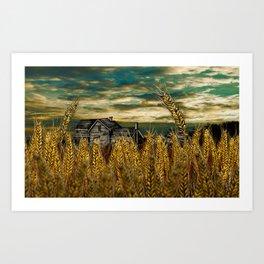 Farm House in Wheat Field Art Print