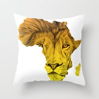 musa Throw Pillows featuring King Of The Jungle! by DeMoose Art