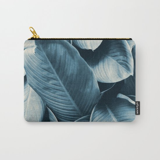 Blue Tropical Leaves Carry-All Pouch