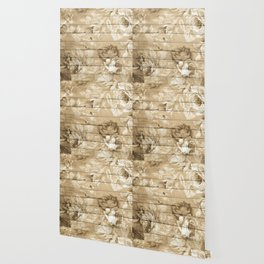 Shabby Chic Country Floral Peony Wood Wallpaper