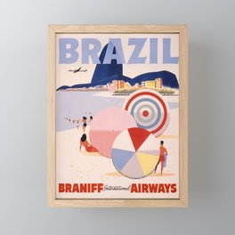 Vintage Commercial Travel Poster Colorful Vintage Art Brazil  Framed Mini Art Print