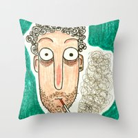 smoking Throw Pillows featuring SMOKING by t i t i l l a