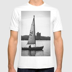 Sailboat MEDIUM White Mens Fitted Tee