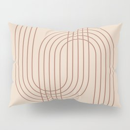 Geometric Lines in Terracotta 4 (Rainbow abstract) Pillow Sham