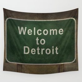 Welcome to Detroit highway road side sign Wall Tapestry