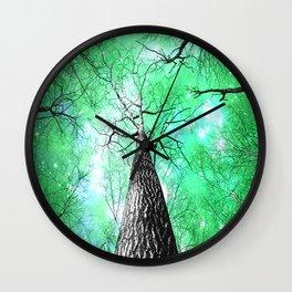 Wintry Trees Galaxy Skies Vibrant Green Wall Clock