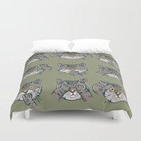 evil Duvet Covers featuring No Evil Cat by Huebucket
