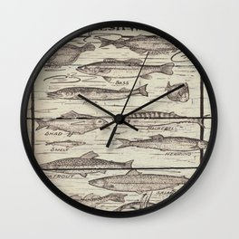 father's day fisherman gifts whitewashed wood lakehouse freshwater fish Wall Clock