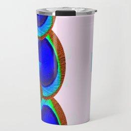 BLUE PEACOCK FEATHER EYES MODERN  ART Travel Mug