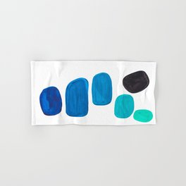 Colorful Mid Century Modern Pop Art Minimalist Style Teal Blue Aquamarine Bubbles White Background Hand & Bath Towel