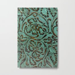 Aqua Flowers Tooled Leather Metal Print