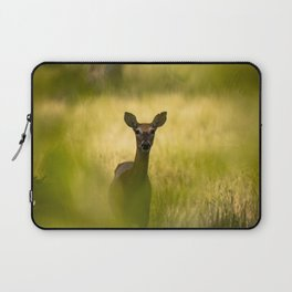 Keeping Tabs - Watchful Young Deer Through Tree Leaves in Wyoming Laptop Sleeve