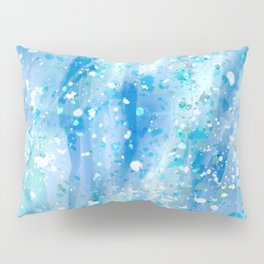 Blue Strokes, Spatter Abstract Pillow Sham