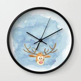 Reindeer Watercolor Christmas Wall Clock