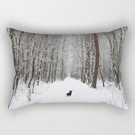 Dog in the snowland Rectangular Pillow
