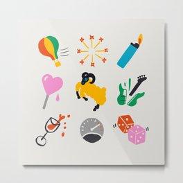 Aries Emoji Metal Print