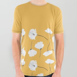 Poppies on mustard All Over Graphic Tee