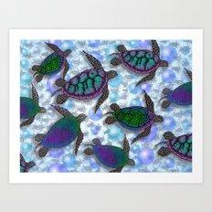 SEA OF TURTLES Art Print