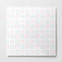 Modern hand painted blush pink teal brushstokes pattern Metal Print