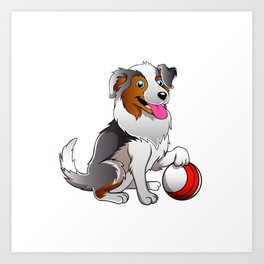 Cartoon Dog with ball Art Print