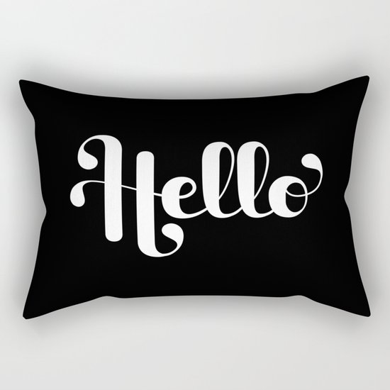 Hello Lettering Rectangular Pillow