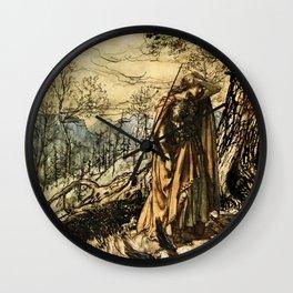 """Brunhilde Dazed and Alarmed"" by Arthur Rackham Wall Clock"