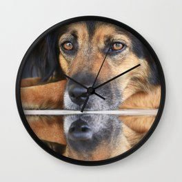 Portrait of a black dog reflected in water Wall Clock