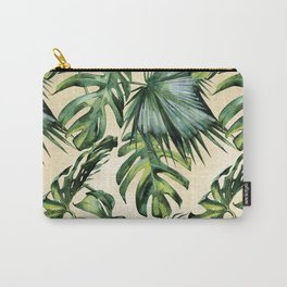 Palm Leaves Greenery Linen Carry-All Pouch