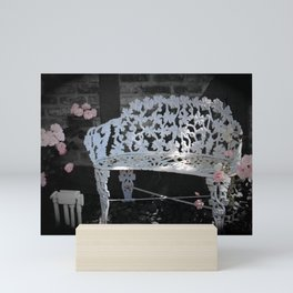 White Garden Bench Classic Pink Rose Selective Coloring Mini Art Print