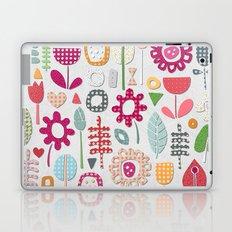 paper cut flowers silver Laptop & iPad Skin