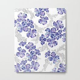 Hydrangea Blooms in Purple Metal Print