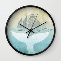 moby dick Wall Clocks featuring Moby by Vin Zzep
